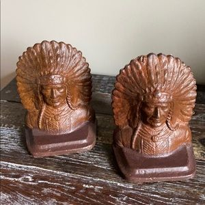 Pair Cast Iron Indian Chief Bookends Iron Will
